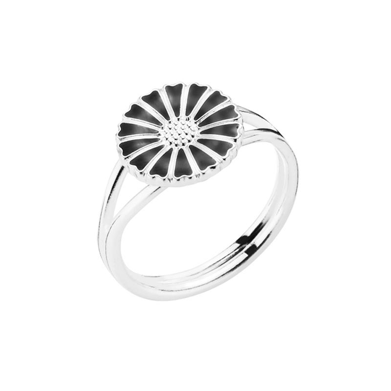 Lund Copenhagen Marguerit Ring sølv med sort emalje, 11 mm str 60