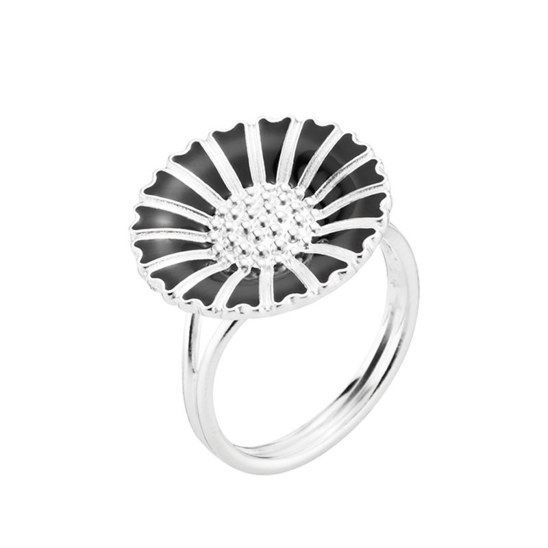 Lund Copenhagen Marguerit Ring sølv med sort emalje, 18 mm