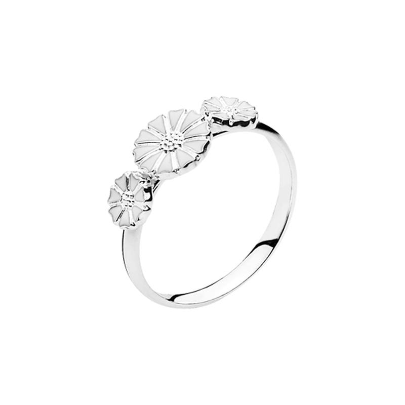 Lund Copenhagen Marguerit Ring, 3 blomster sølv med hvid emalje str 58