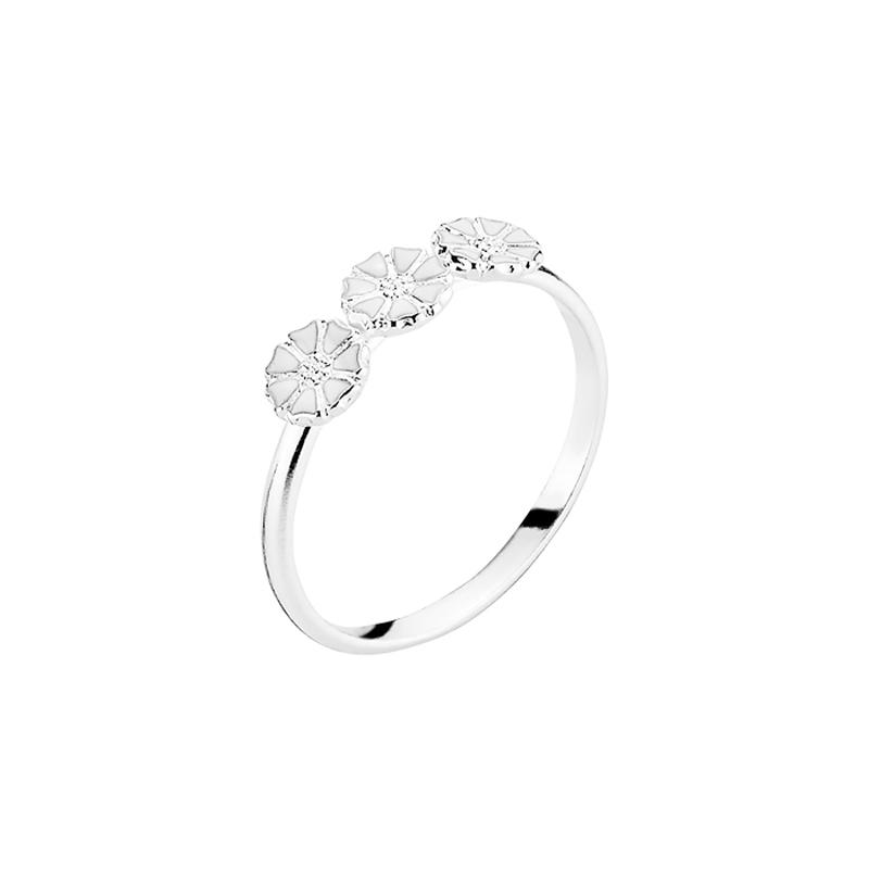 Lund Copenhagen Marguerit Ring, 3 blomster sølv med hvid emalje str 56