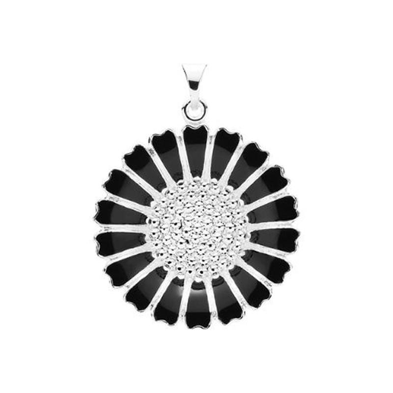 Image of   Lund Copenhagen Marguerit Vedhæng - sølv med sort emalje, 25 mm