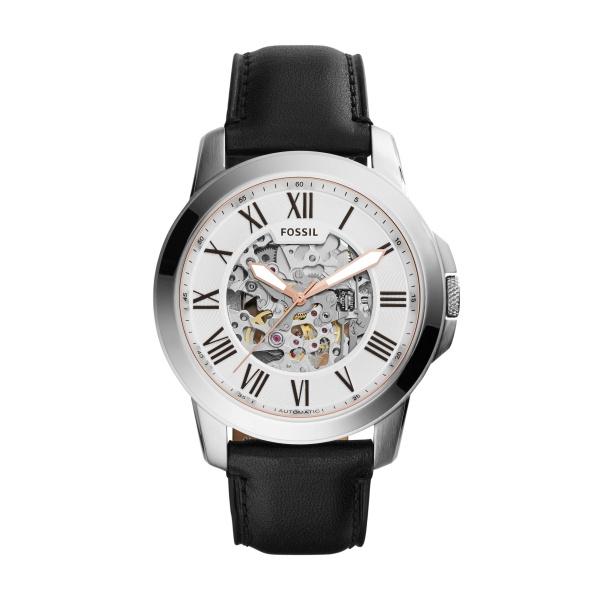 FOSSIL Grant automatic armbåndsur i stål med hvid skive og sort læderrem