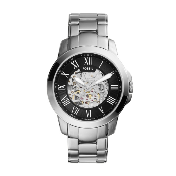 Image of   FOSSIL Grant automatic armbåndsur i stål med sort skive og lænke