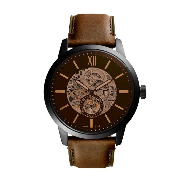 FOSSIL Townsman automatic armbåndsur i stål med sort skive og brun læderrem