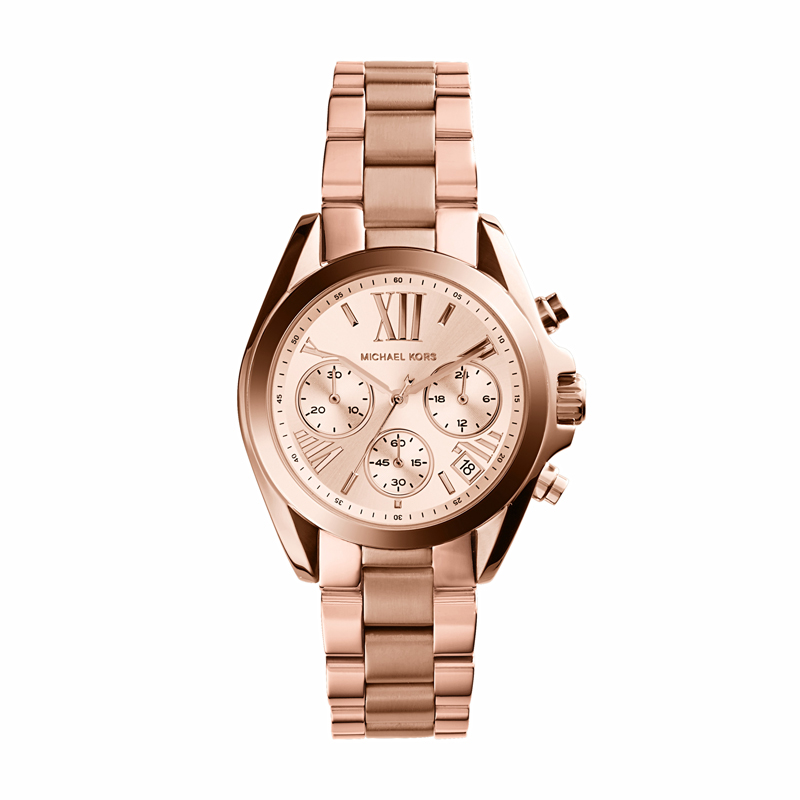 Image of   Michael Kors Mini Bradshaw dameur i rosaforgyldt med chronograph 38 mm