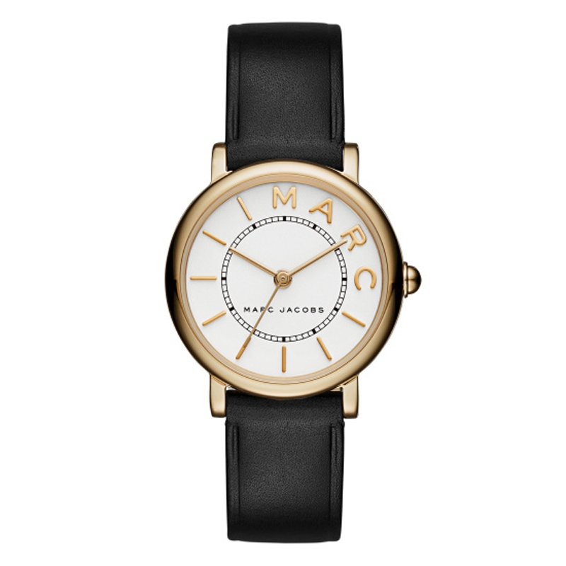 Marc Jacobs Classic dameur Ø 29 mm i forgyldt med sort læderrem