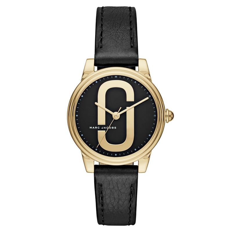 Marc Jacobs Corie armbåndsur i forgyldt med sort skive og rem