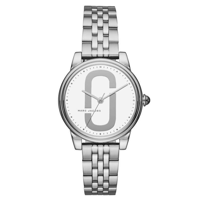 Marc Jacobs Corie armbåndsur i stål med hvid skive og lænke