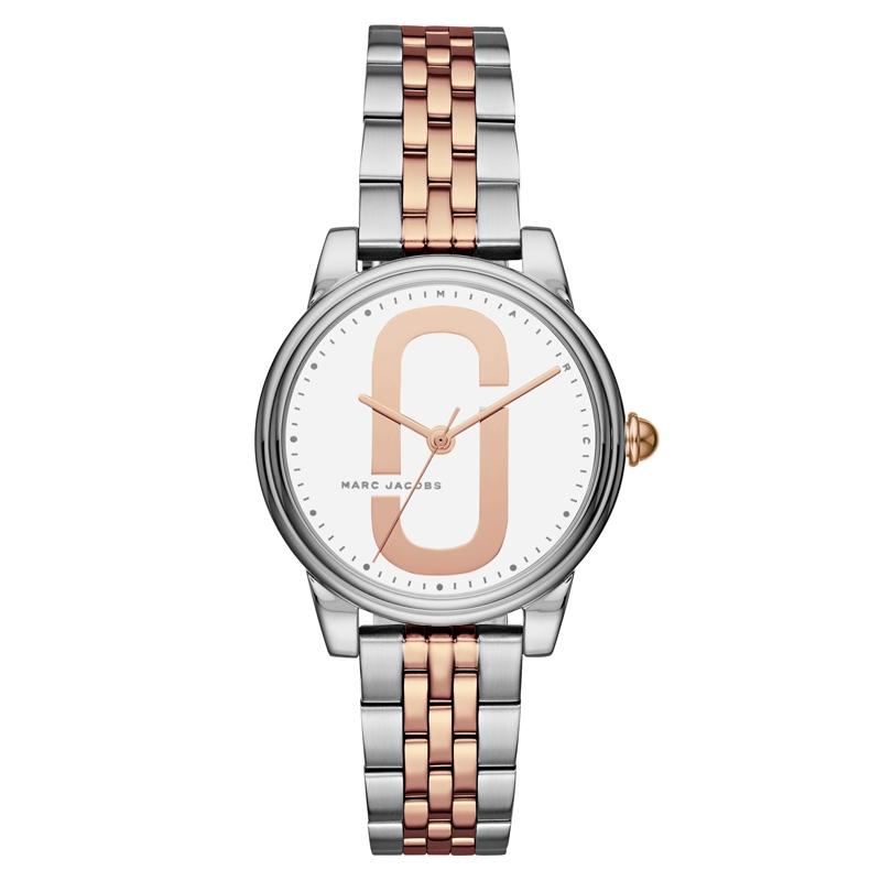 Marc Jacobs Corie armbåndsur i stål og rosaforgyldt med hvid skive og lænke
