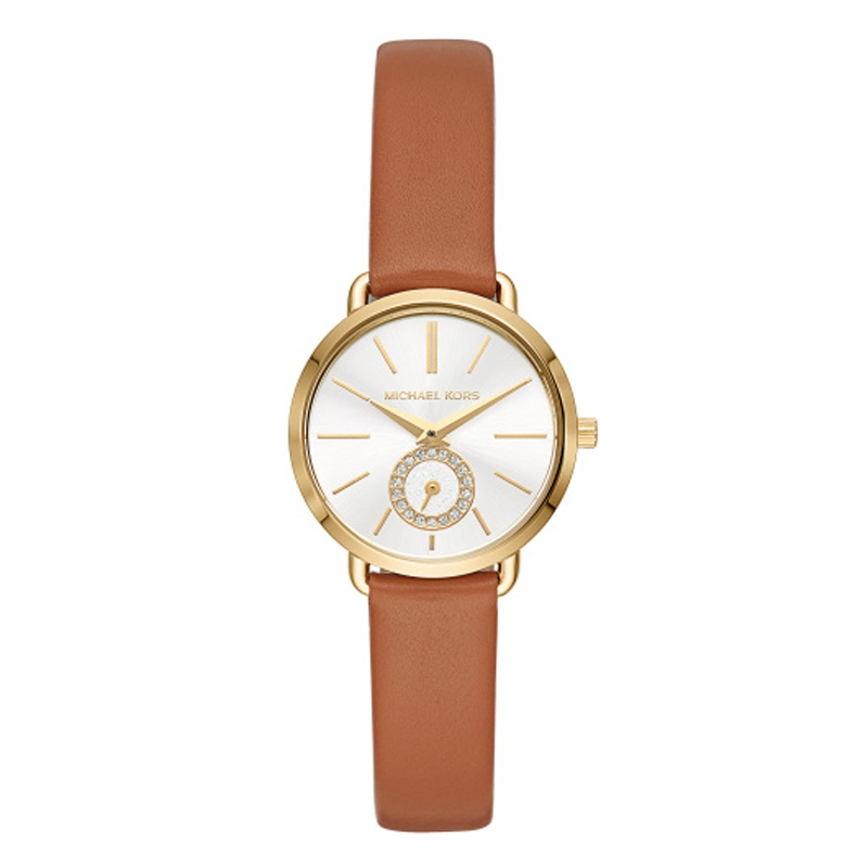 Michael Kors Portia lille armbåndsur i forgyldt med sølvhvid skive og brun læderrrem