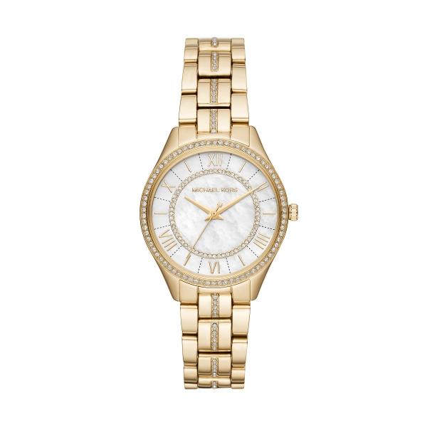 Michael Kors Lauryn armbåndsur i guldfarvet stål med perlemorsskive og krystaller