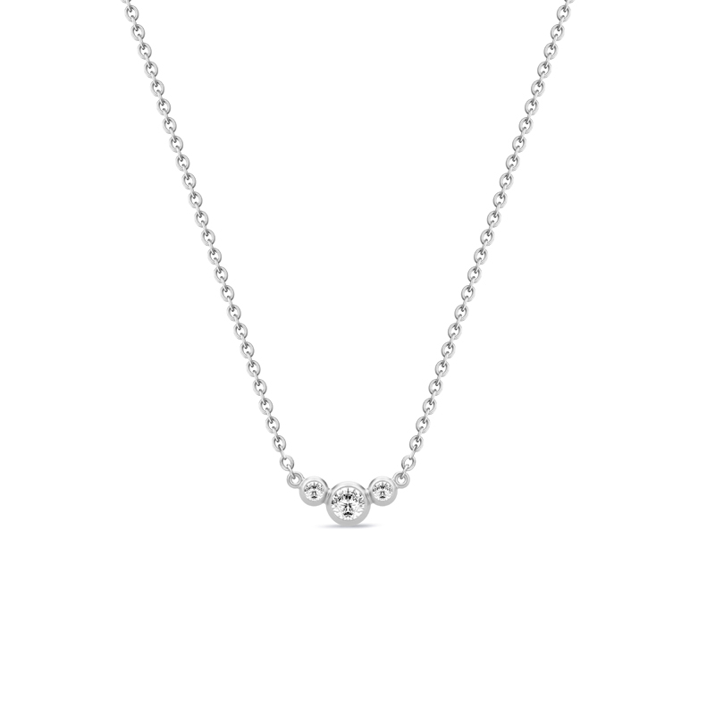 Image of   Julie Sandlau Fina sølv halskæde med zirkoner