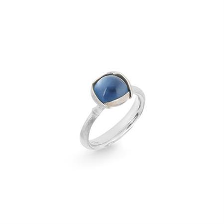 Image of   Ole Lynggaard Ring Lotus str. 1 - 18 karat hvidguld rhodineret og urhodineret Swiss blå topas cabochon