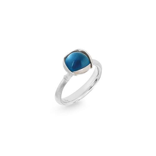 Image of   Ole Lynggaard Ring Lotus str. 1 - 18 karat hvidguld rhodineret og urhodineret London blå topas cabochon