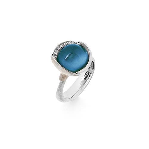 Image of   Ole Lynggaard Ring Lotus str. 3 - 18 karat hvidguld rhodineret og urhodineret London blå topas cabochon 13 brill. i alt 0,05 ct. TW.VS.