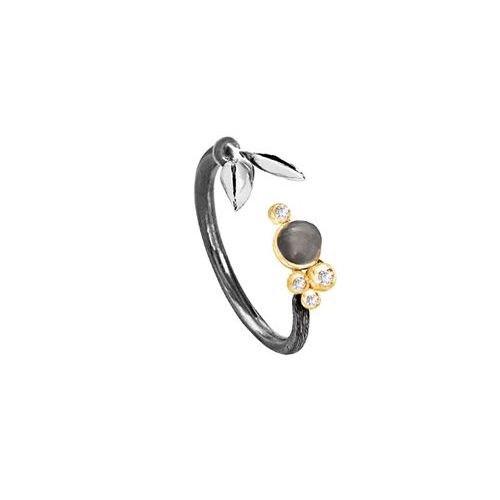 Ole Lynggaard Ring Forest lille i Sterling sølv og 18 karat rødguld, grå månesten cabochon og 4 brillanter TW.VS ialt 0,038 ct