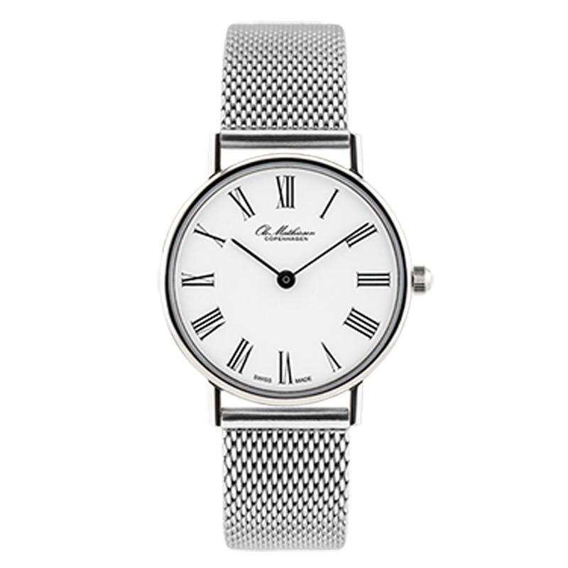 Ole Mathiesen Classic Ø28 mm armbåndsur hvid skive med romertal og stål lænke