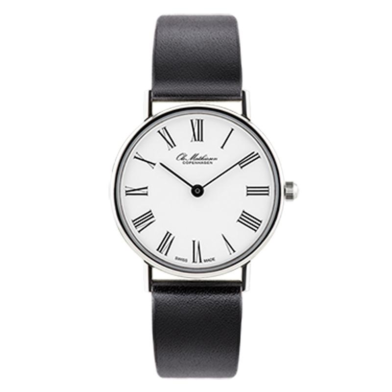 Ole Mathiesen Classic Ø28 mm armbåndsur hvid skive med romertal, stål