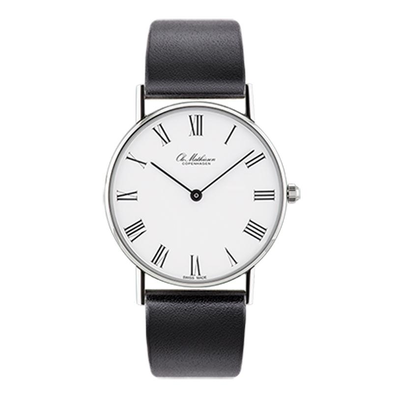 Ole Mathiesen Classic Ø33 mm armbåndsur hvid skive med romertal, stål
