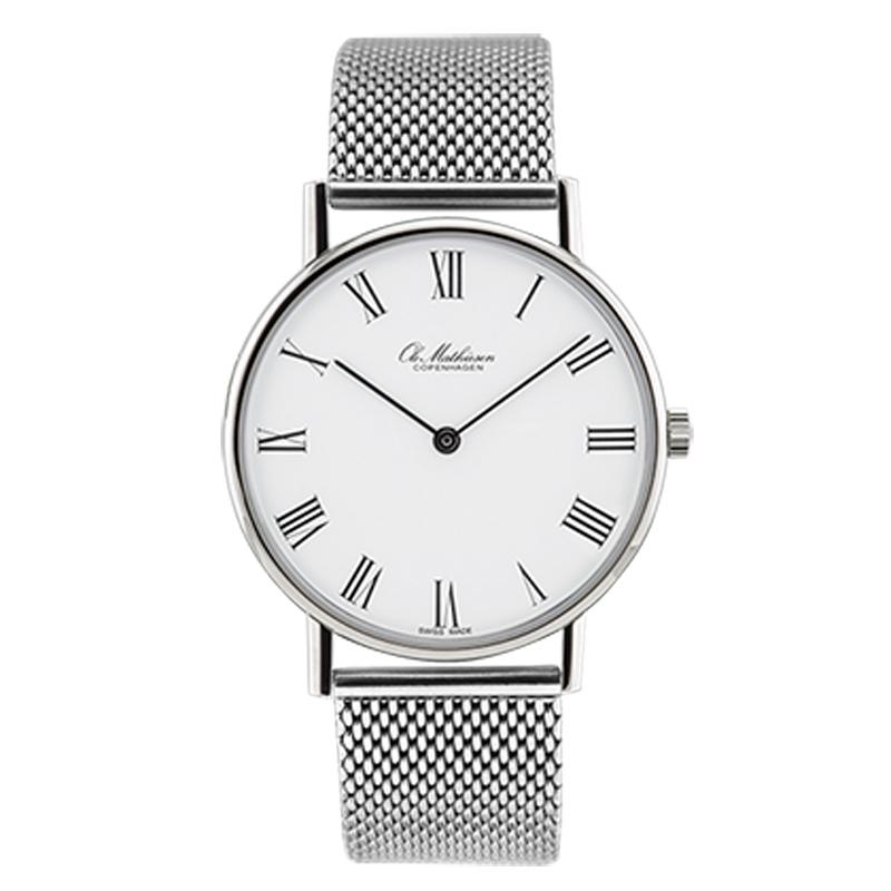 Ole Mathiesen Classic Ø35 mm armbåndsur hvid skive med romertal og stål lænke