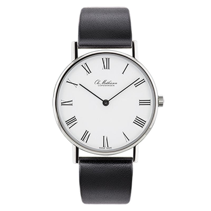 Ole Mathiesen Classic Ø35 mm armbåndsur hvid skive med romertal, stål