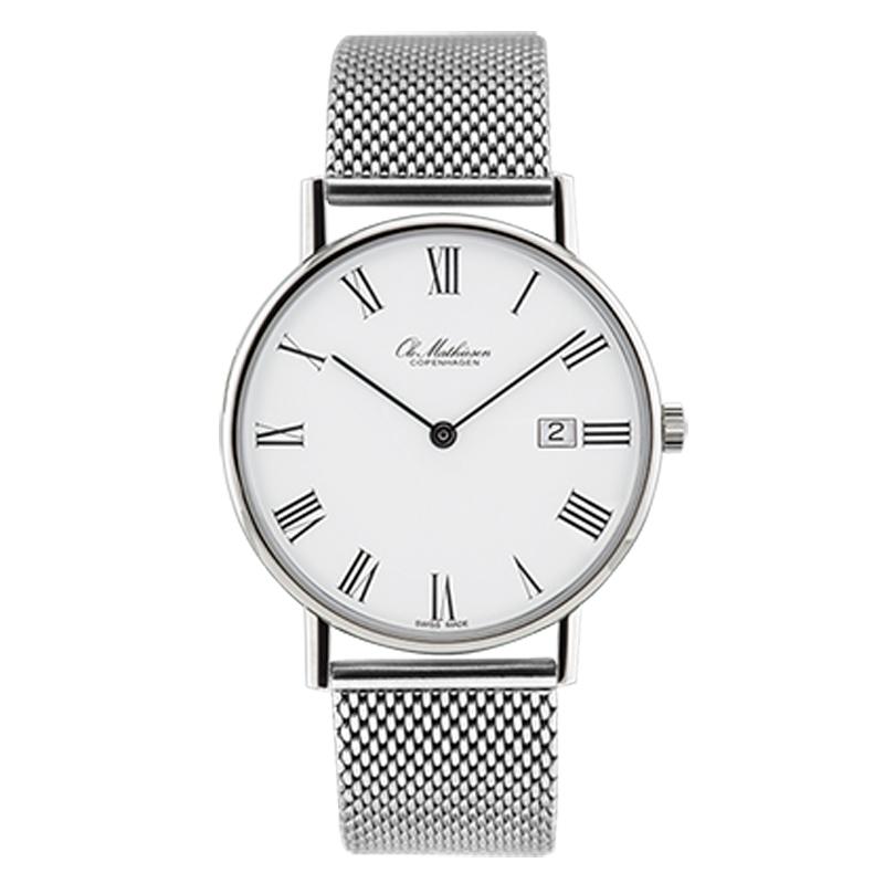 Ole Mathiesen Classic Ø35 mm armbåndsur med lænke, hvid skive romertal med dato