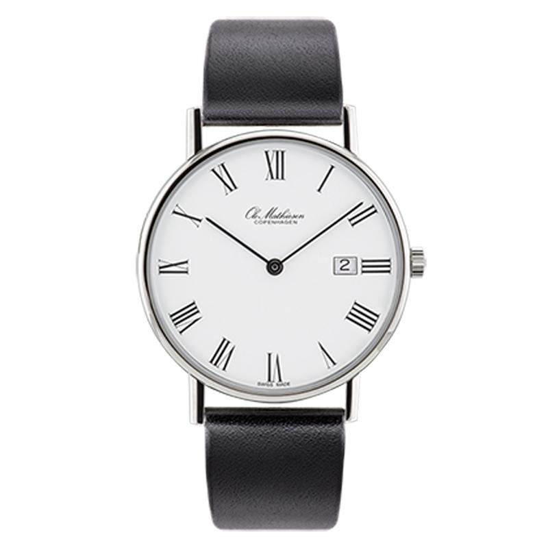 Ole Mathiesen Classic Ø35 mm armbåndsur, hvid skive romertal med dato