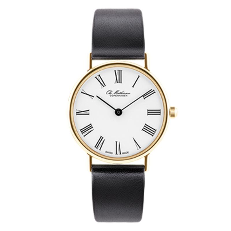 Ole Mathiesen Classic Ø28 mm 18 kt. guldbelagt armbåndsur, hvid skive med romertal