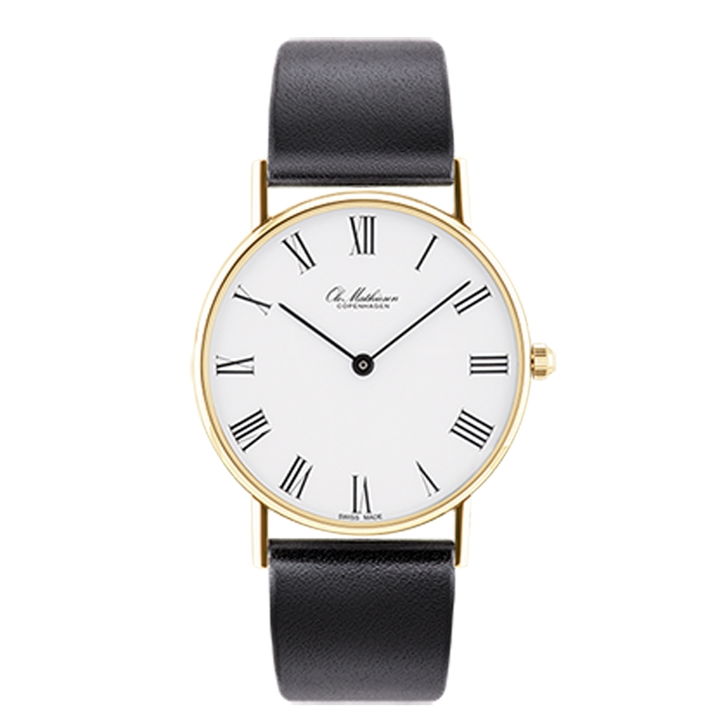 Ole Mathiesen Classic Ø33 mm 18 kt. guldbelagt armbåndsur, hvid skive med romertal