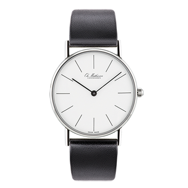 Ole Mathiesen Classic Ø33 mm armbåndsur hvid skive, stål
