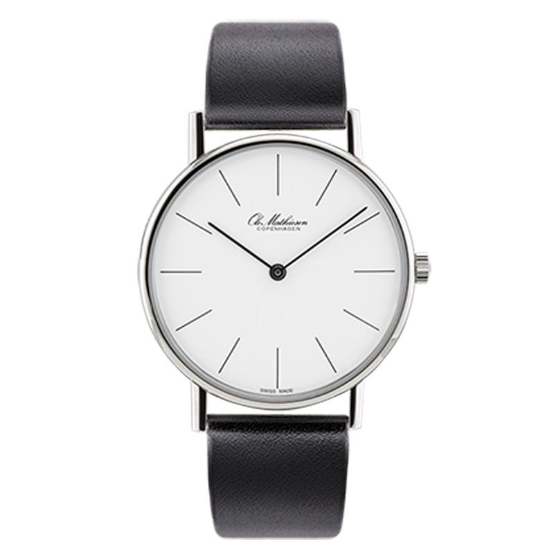 Ole Mathiesen Classic Ø35 mm armbåndsur hvid skive, stål