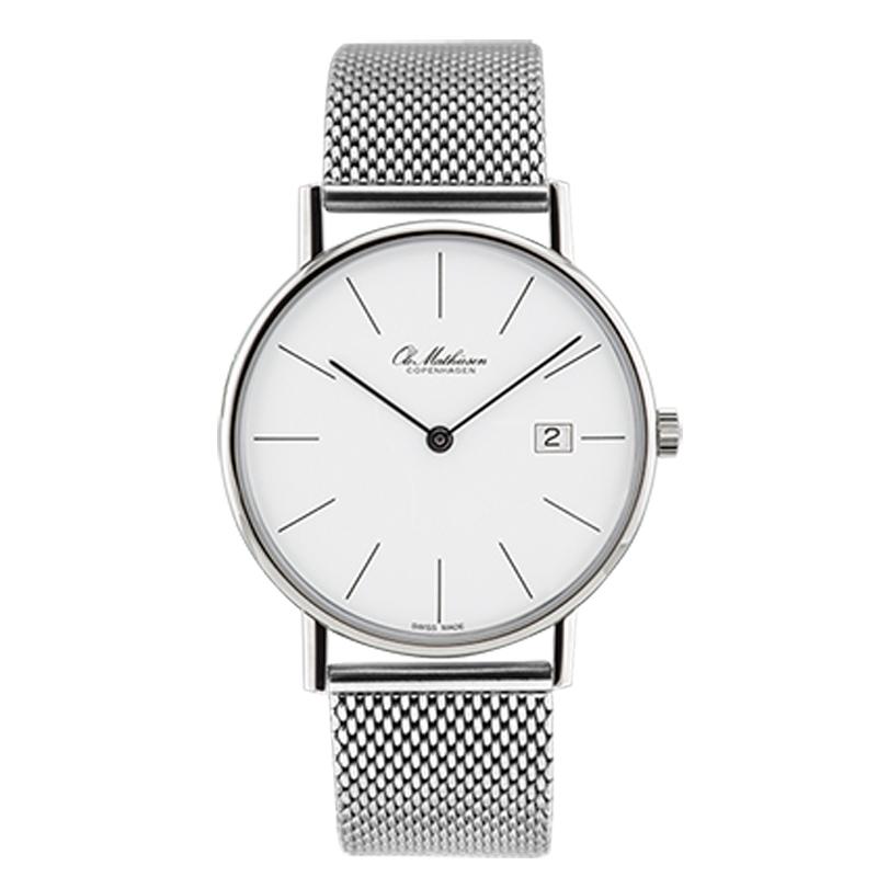 Ole Mathiesen Classic Ø35 mm armbåndsur med lænke, hvid skive med dato
