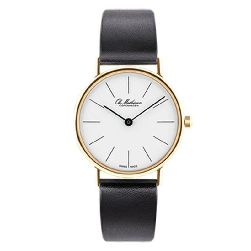 Ole Mathiesen Classic Ø28 mm 18 kt. guldbelagt armbåndsur, hvid skive med streg indeks