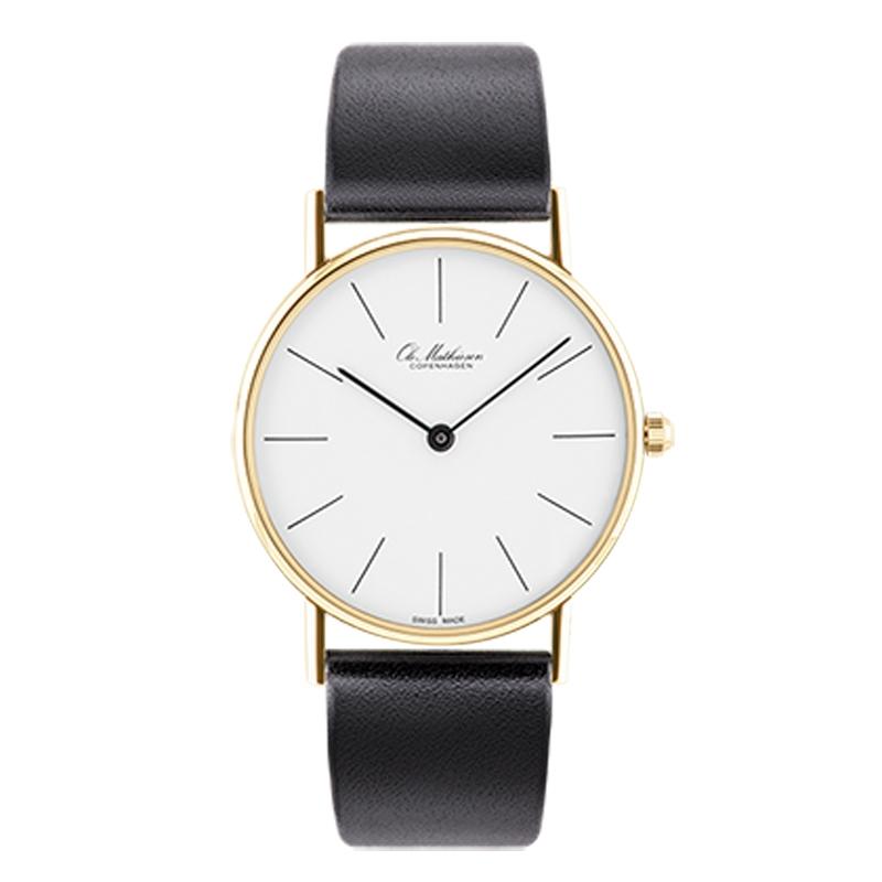 Ole Mathiesen Classic Ø33 mm 18 kt. guldbelagt armbåndsur, hvid skive med streg indeks