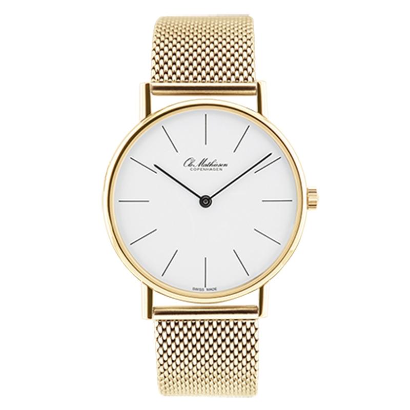 Ole Mathiesen Classic Ø35 mm 18 kt. guldbelagt armbåndsur med lænke, hvid skive med streg indeks