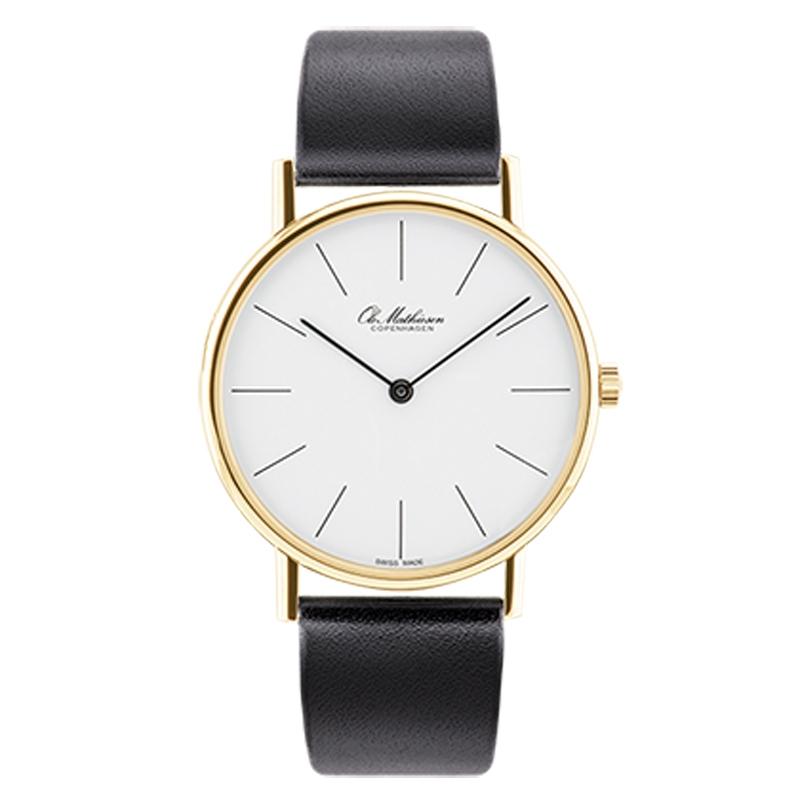 Ole Mathiesen Classic Ø35 mm 18 kt. guldbelagt armbåndsur, hvid skive med streg indeks