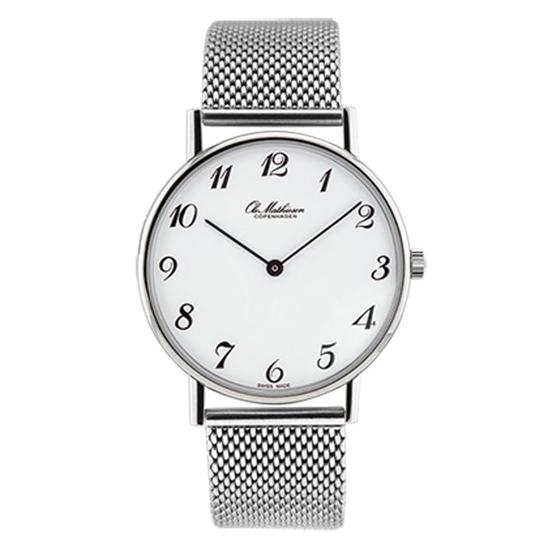 Ole Mathiesen Classic Ø35 mm armbåndsur hvid skive med stål lænke
