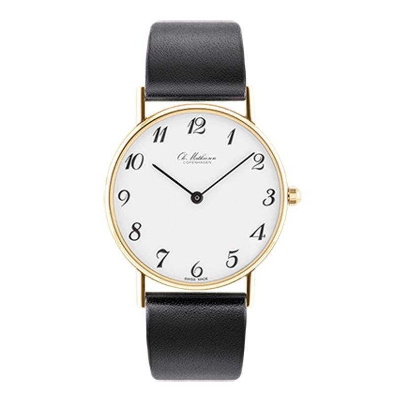 Ole Mathiesen Classic Ø33 mm 18 kt. guldbelagt armbåndsur, hvid skive med arabertal
