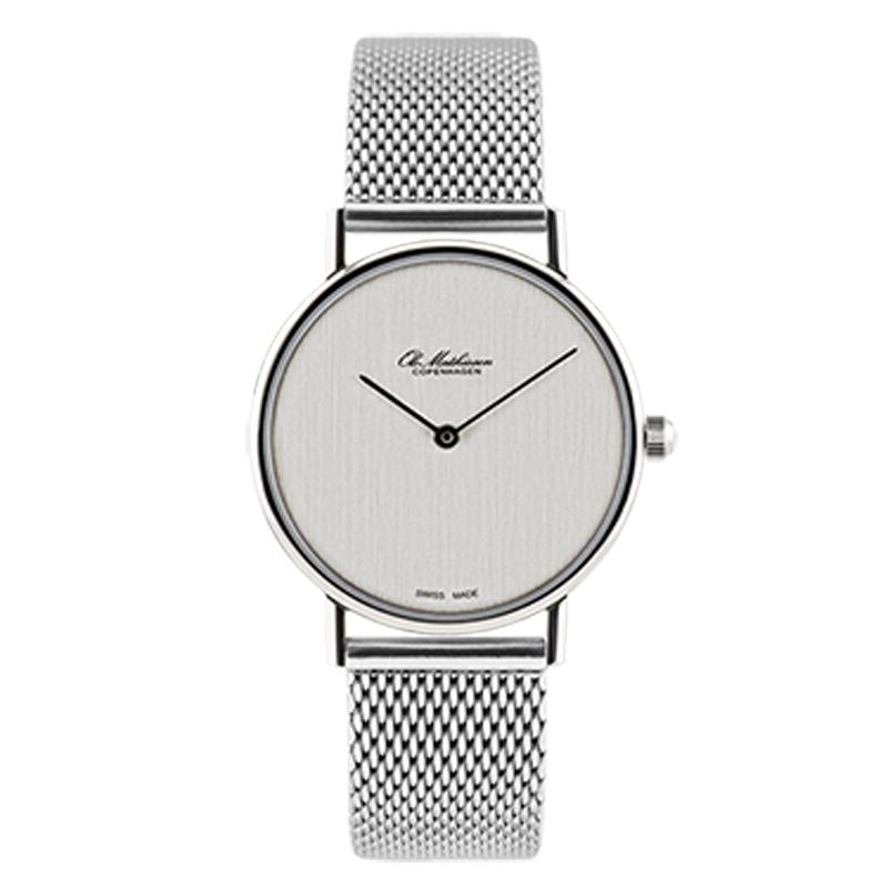 Ole Mathiesen Classic Ø28 mm armbåndsur, sølvfarvet skive med lænke