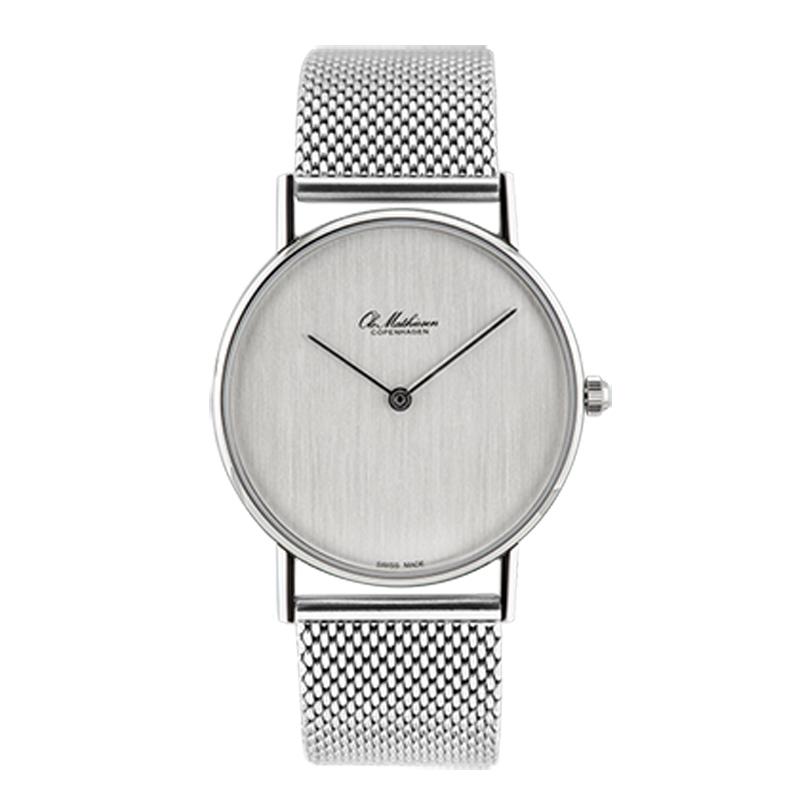 Ole Mathiesen Classic Ø33 mm armbåndsur, sølvfarvet skive med lænke