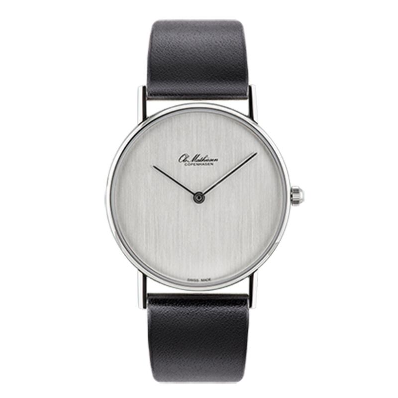 Ole Mathiesen Classic Ø33 mm armbåndsur, sølvfarvet skive