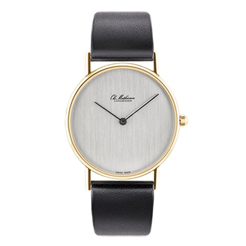 Ole Mathiesen Classic Ø33 mm 18 kt. guldbelagt armbåndsur, sølvfarvet skive
