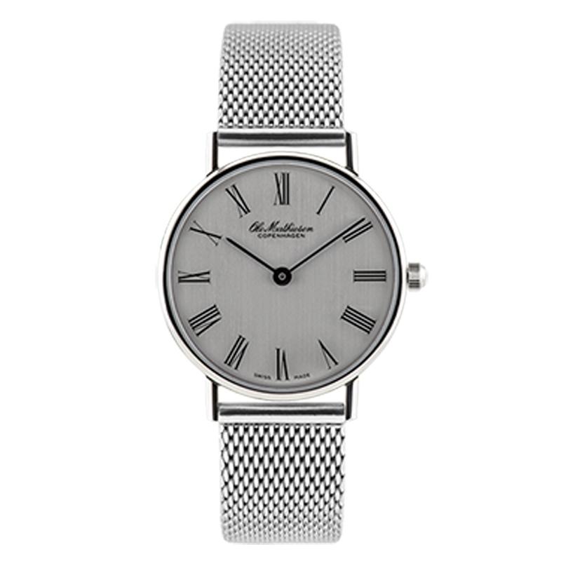 Ole Mathiesen Classic Ø28 mm armbåndsur, sølvfarvet skive, romertal med lænke