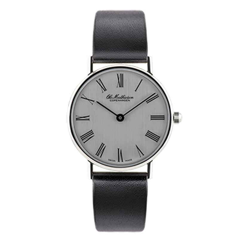 Ole Mathiesen Classic Ø28 mm armbåndsur, sølvfarvet skive med romertal