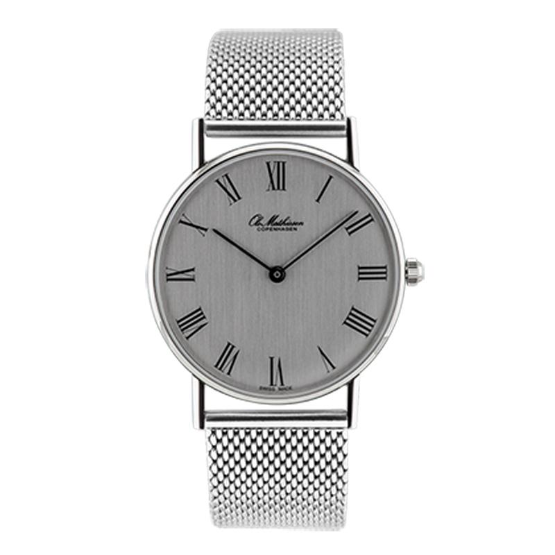 Ole Mathiesen Classic Ø33 mm armbåndsur, sølvfarvet skive, romertal med lænke