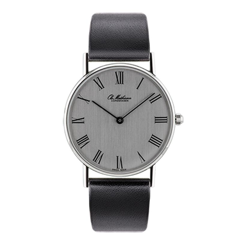 Ole Mathiesen Classic Ø33 mm armbåndsur, sølvfarvet skive med romertal