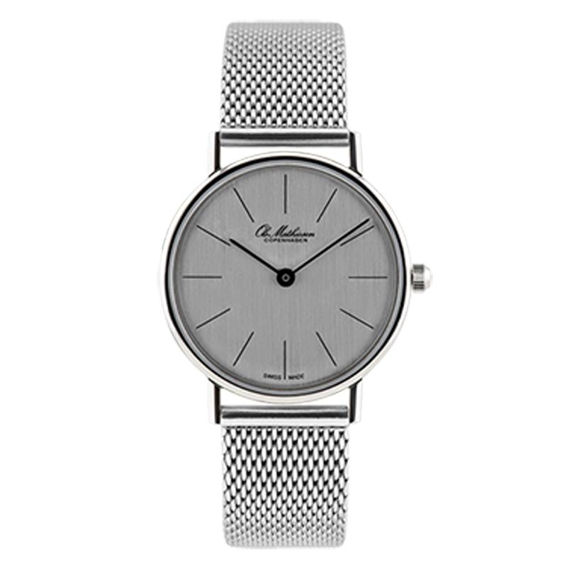 Ole Mathiesen Classic Ø28 mm armbåndsur med lænke, sølvfarvet skive
