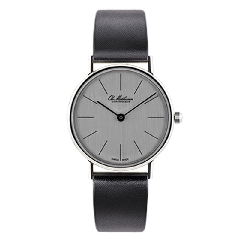 Ole Mathiesen Classic Ø28 mm armbåndsur, sølvfarvet skive
