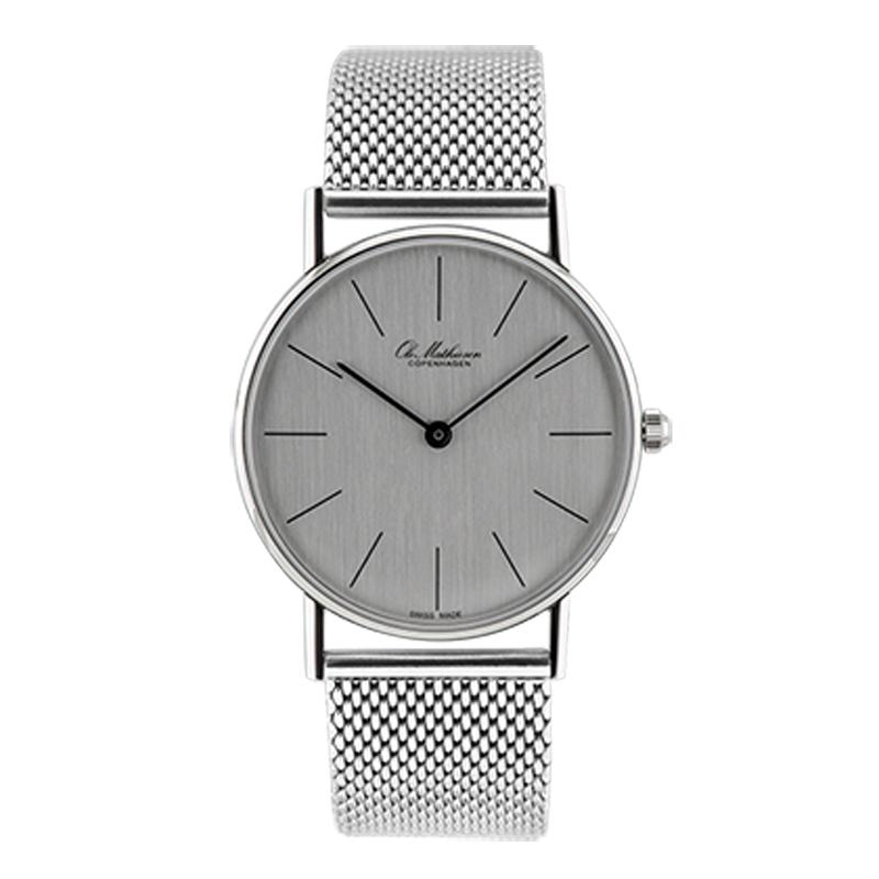 Ole Mathiesen Classic Ø33 mm armbåndsur med stål lænke, sølvfarvet skive