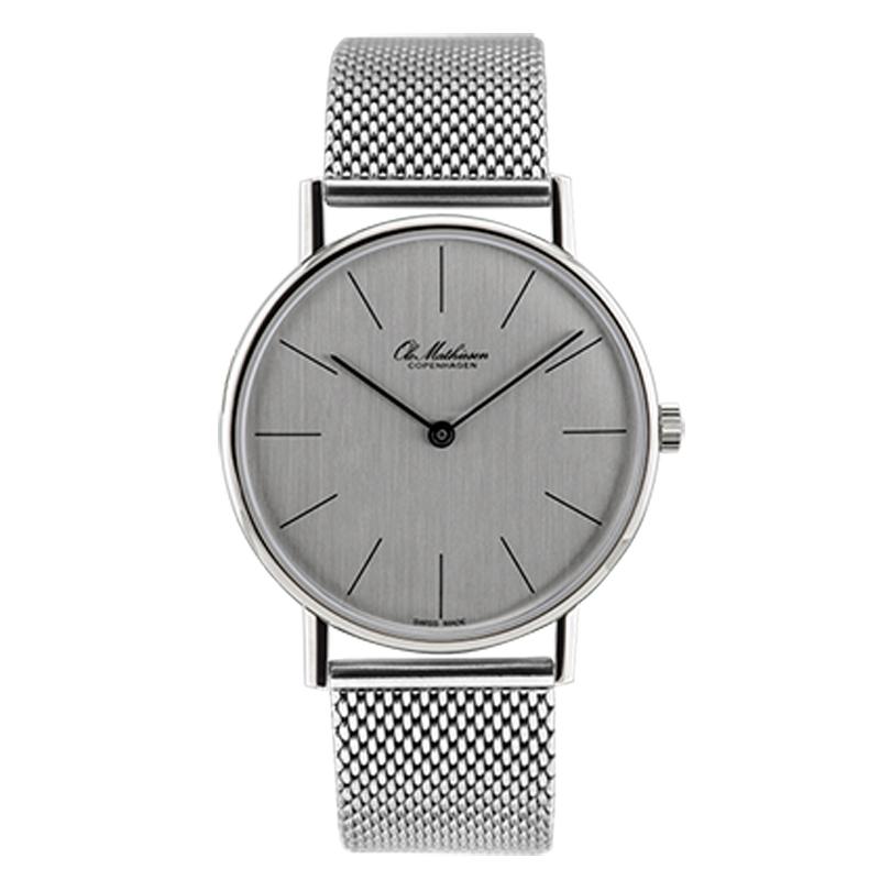 Ole Mathiesen Classic Ø35 mm armbåndsur med lænke, sølvfarvet skive